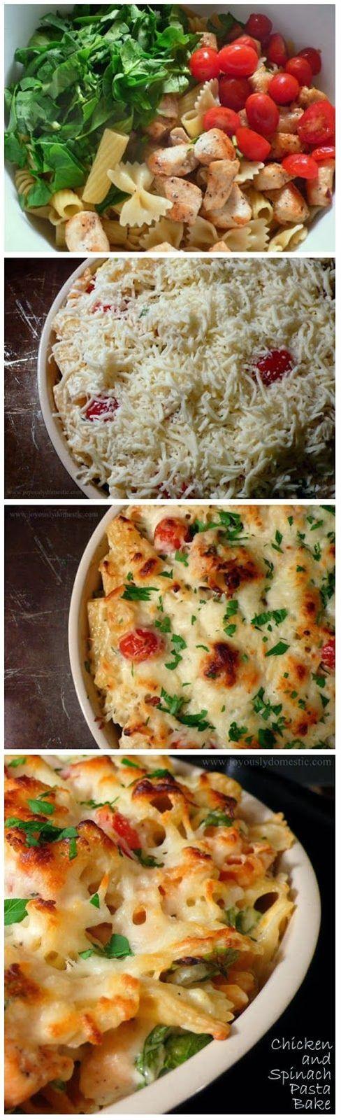 Chicken+and+Spinach+Pasta+Bake