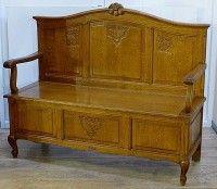 Старинная дубовая скамейка, лавка. Рококо. Резьба. Бельгия. Отличное состояние.