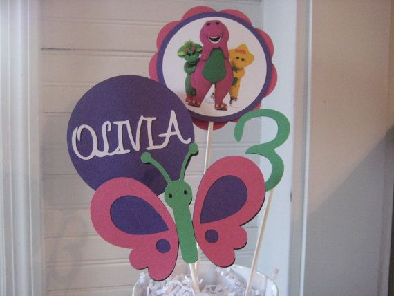 Barney centerpiece by PinkPaperCottage on Etsy, $8.00