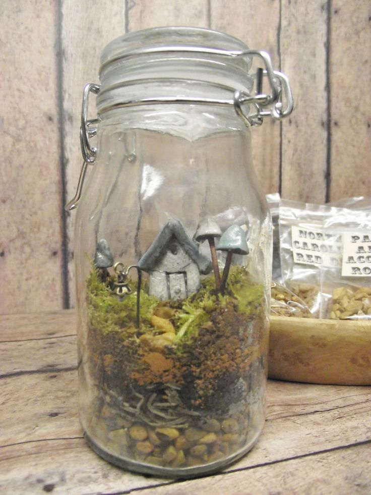 Terrarium Kit With Tiny House, Glow in the Dark Mushrooms and Lantern Live moss Terrarium Kit Handmade by Gypsy Raku. $25.00, via Etsy.