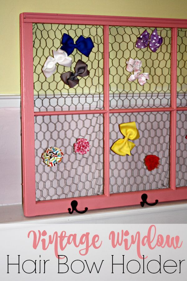 If you're looking to DIY a hair bow holder for your little girl, check out this fun and vintage inspired holder made from a vintage window.