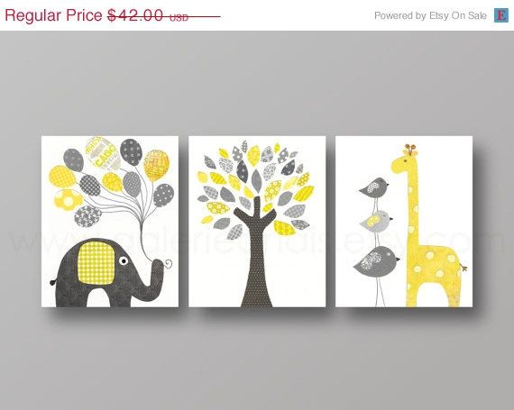 Yellow and gray Nursery art, baby nursery decor, nursery print, Kids art, elephant, giraffe, bird, Tree, Set of three 8x10 prints on Etsy, $33.60