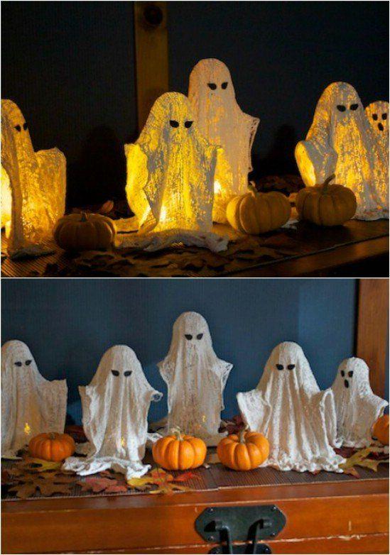 Glowing Ghosts - 40 Easy to Make DIY Halloween Decor Ideas 4,6,7,11,14,15,17,20,34,35