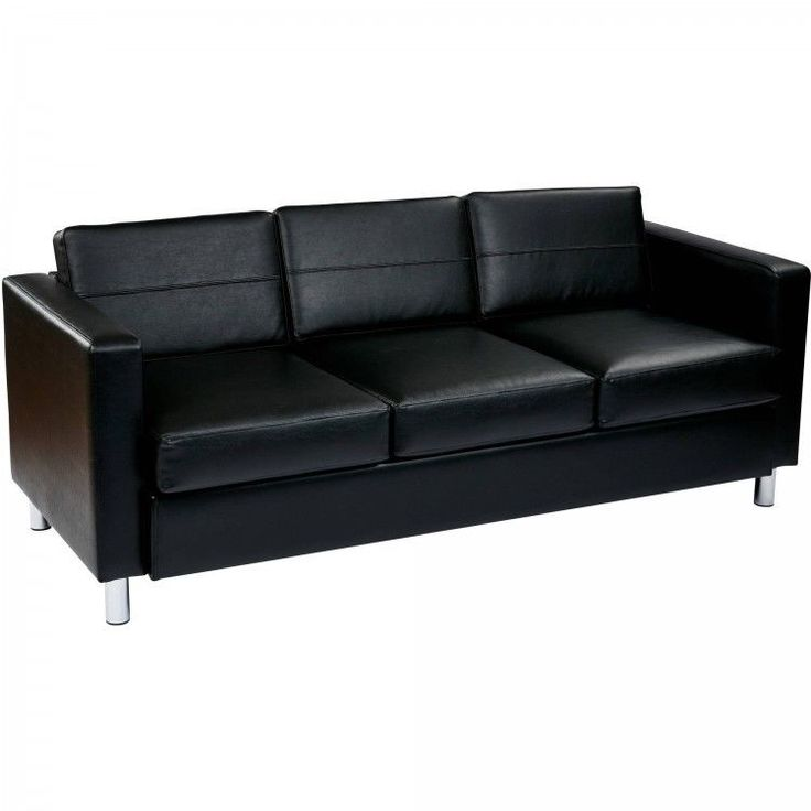 Faux Leather Sofa Couch Contemporary Home Furniture Box Spring Seats Silver Legs