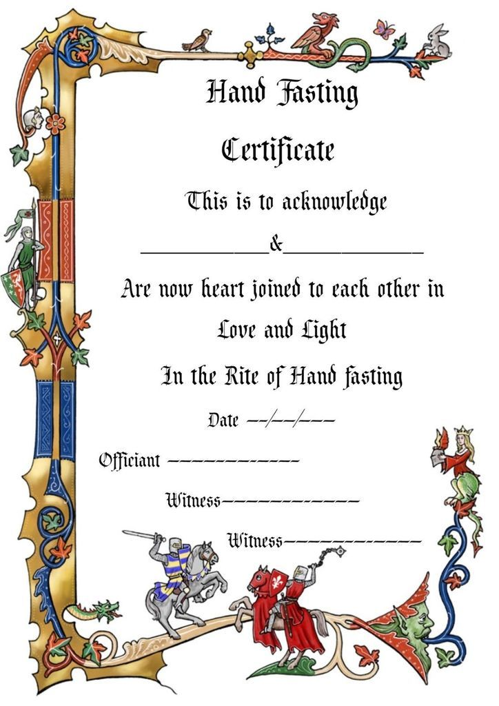 Handfasting certificate wedding marriage parchment ...