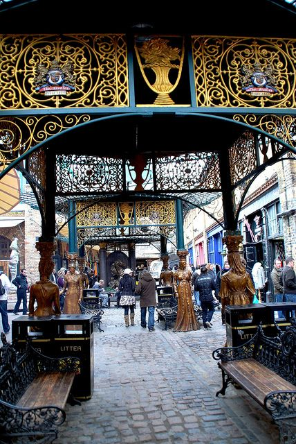 The Camden Stables Market in London, consists of a group of 19th century horse stables, horse hospital, workshops, warehouses and vaults, all connected by cobbled lanes, with it's various levels connected by ramps. It all started in 1854 when, due to the increase in rail freight, more and more horses were required to haul the Pickford distribution waggons round the streets of London and to tow the heavy barges, up and down the Regents Canal in North London.