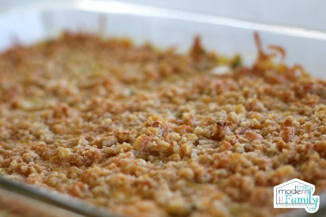 Vegetable Casserole with Cheesy Cracker Topping - Your Modern Family
