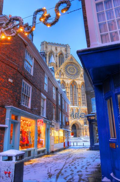 York Minster at Christmas, Peppergate Street, York, England
