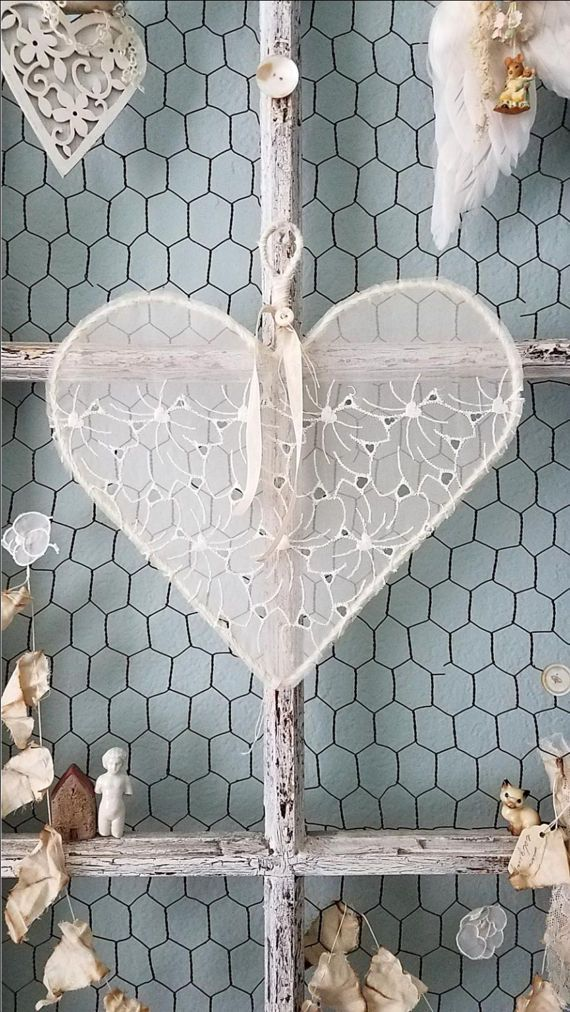 Shabby Chic Lace Heart for Wedding Flower Girl by LittlePrairieSparrow