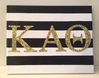 "Kappa Alpha Theta Sorority Letters Canvas/Sign - Gold/Silver Glitter - Black and White Striped Background - 8"" x 10"""