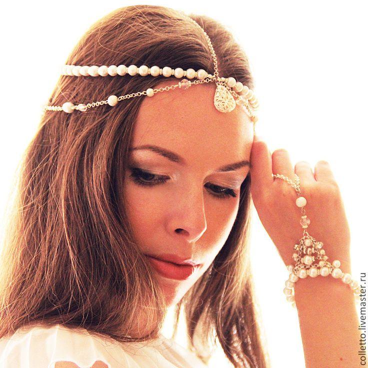 """Купить Комплект """"Жади"""" (тикка+браслет) - белый, тикка, диадема, цепочка на голову, украшение для волос"""