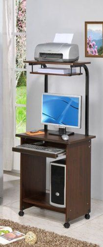"""Computer Desk Walnut Finish by Poundex by Poundex. $87.20. Some assembly required. solid wood construction. Dark Walnut Finish. Casters for easy mobility. """"A Contemporary Walnut Home Office Computer Desk with Top Shelf in a wood construction. This computer desk is well-suited for small home office and it features small design with 23""""""""W only. This item is designed with an upper shelf which is great for placing a printer on it. The 4 casters are for easier mobility an..."""