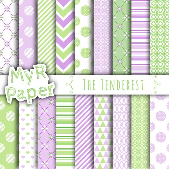 """With #love by @myrpaper in @etsy #pattern #design #graphic #paperdesign #papercraft #scrapbooking #digitalpaper Digital paper: """"THE TENDEREST"""" paper pack & backgrounds for mother's day, valentine's day, wedding, love, baby in light green and lilac   Hello And Welcome To My Shop  Thes..."""