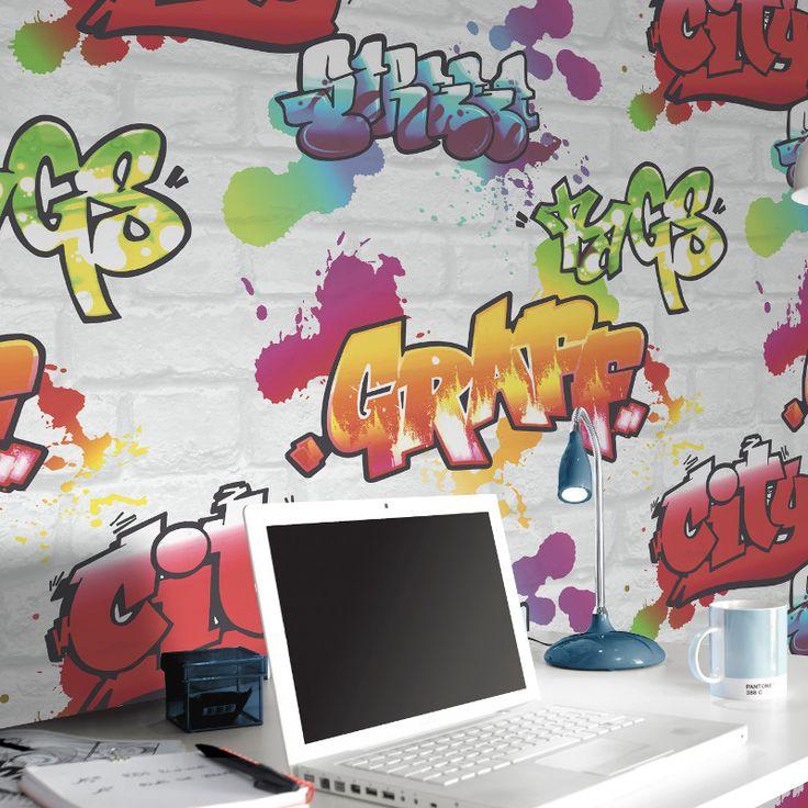 Rasch Urban Graffiti Wallpaper - White - http://godecorating.co.uk/rasch-urban-graffiti-wallpaper-white/