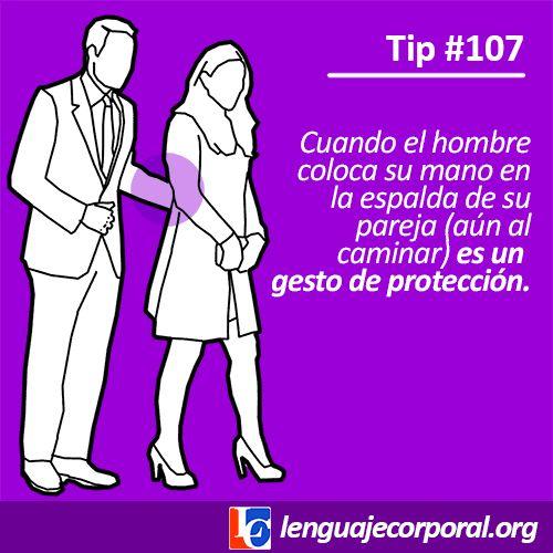 Un gesto muy sutil que puedes detectar en el lenguaje corporal de las parejas, es el de la mano del hombre cuando la coloca en la espalda de ella, creando un enlace aún cuando caminan. Esto es un indicador de la cercanía emocional de ambos, pues es un gesto de protección el cual no siempre ocurre, aún cuando es apropiado para la mayoría de las circunstancias.Cuando un hombre quiere proteger a una mujer