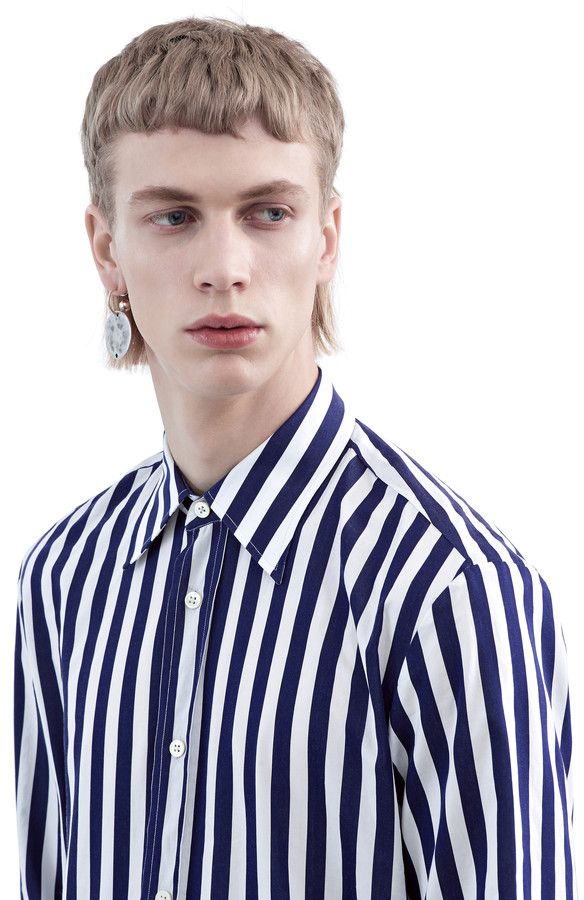 Sune cotton shirt with bold blue/white stripes #AcneStudios #FW15 #menswear