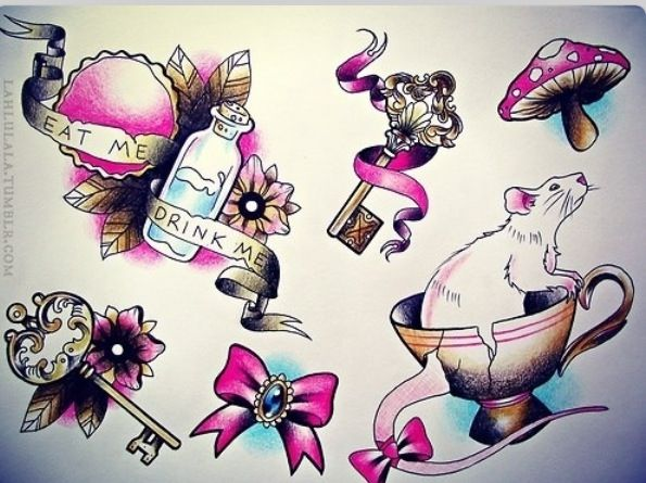 A funny tattoo design of the March Hare with a cuppa tea ...  |Alice Tea Tattoo