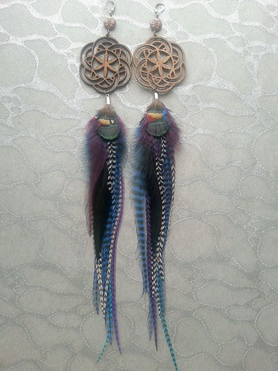 Seed of Life Sacred Geometry Laser Cut Wood Pendant Feather.Earrings w Copper Butterfly Beads long Grizzly Stripes Black White Purple Blue by Medicinal Designs