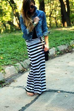 faldas largas rayas outfit - Buscar con Google