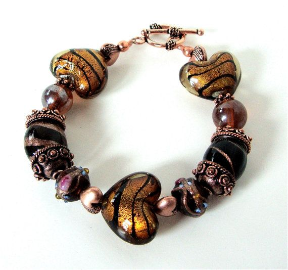 Autumn beaded heart bracelet with earth tone by sparklecityjewelry, $22.00