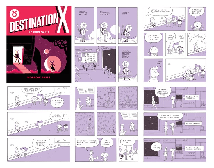 """Awesome excerpt from """"Destination X,"""" a new graphic novel by John Martz out from Nobrow Press"""