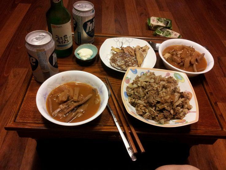 간단한 저녁식사와 맥주, 처음처럼 함께^^