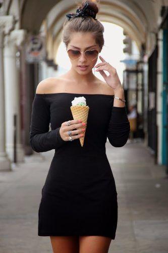 Vestidos Femininos Preto Ombro A Ombro Curto Básico - R$ 79,90