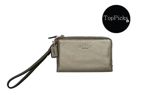 Coach Double Zip in Metallic Leather Wristlet Wallet
