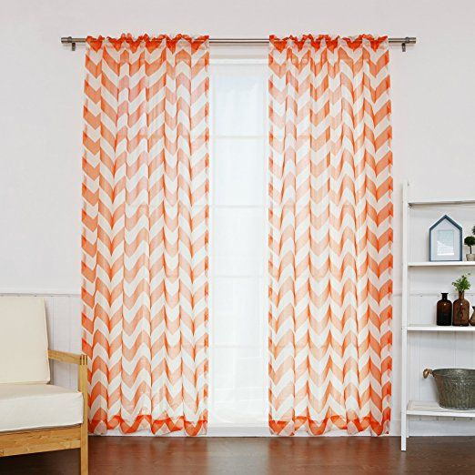 fox orange cheveron curtains nursery baby room baby shower gift gender neutral baby registry must haves