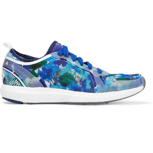 Adidas by Stella McCartney Climacool Sonic rubber-paneled printed mesh... (185 PAB) ❤ liked on Polyvore featuring shoes, sneakers, blue, blue shoes, floral sneakers, clear sneakers, adidas footwear and blue sneakers