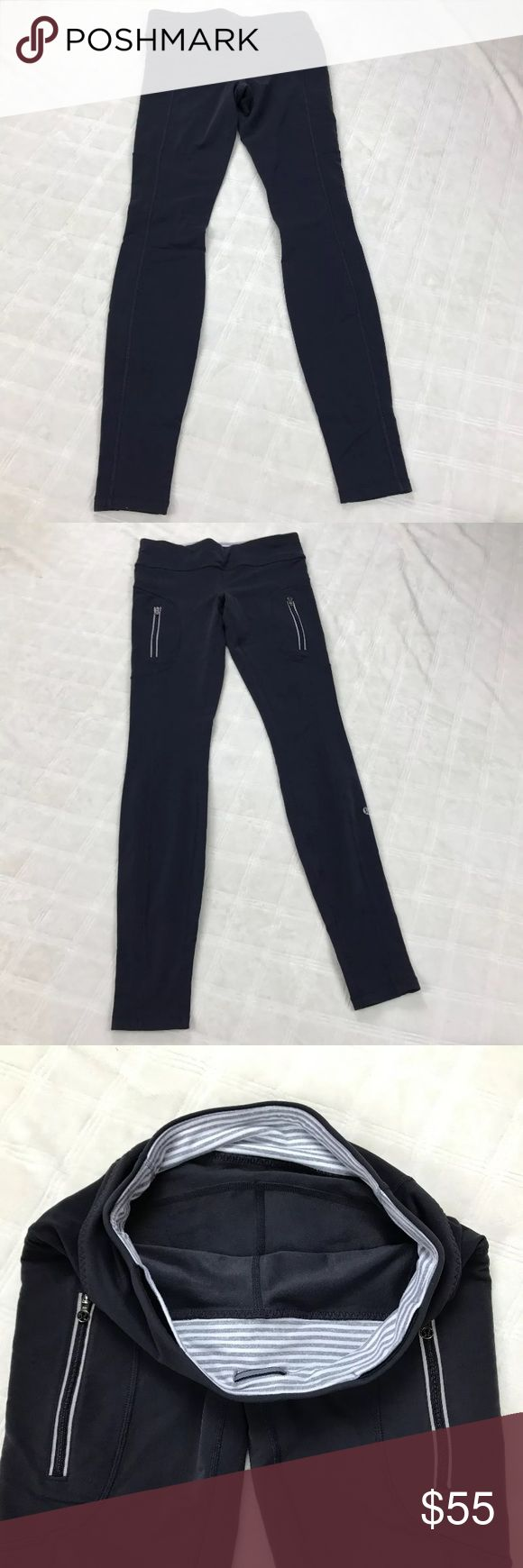 """Lululemon yoga pants, striped inner waist Full length fitted workout pants by Lululemon. Striped inner waist with 2 small inner pocket and 2 zip outer pockets. Measurements (flat & approximate):  waist: 14"""";  rise: 8"""";  inseam: 31"""" lululemon athletica Pants Leggings"""