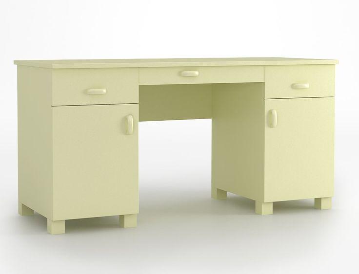 Biurko 150 o wymiarach: 749x1470x600. duży blat, zaokrąglone krawędzie blatu, biurko posiada wbudowane 2 kontenerki z szufladą i zamykaną szafką na prowadnicach firmy BLUM, dodatkowa szuflada pod blatem.