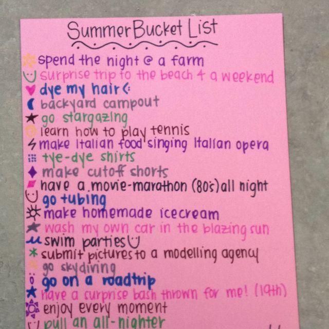 Summer bucket list summer for Italian food list