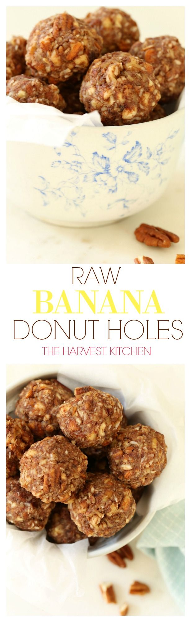 Made with just 8 ingredients, these Raw Banana Donut Holes are rich, nutty and sweetened with dates and banana. They're completely addicting and will satisfy any sweet-tooth. This is an easy Vegan and Gluten Free recipe made with whole ingredients. @theharvestkitchen.com