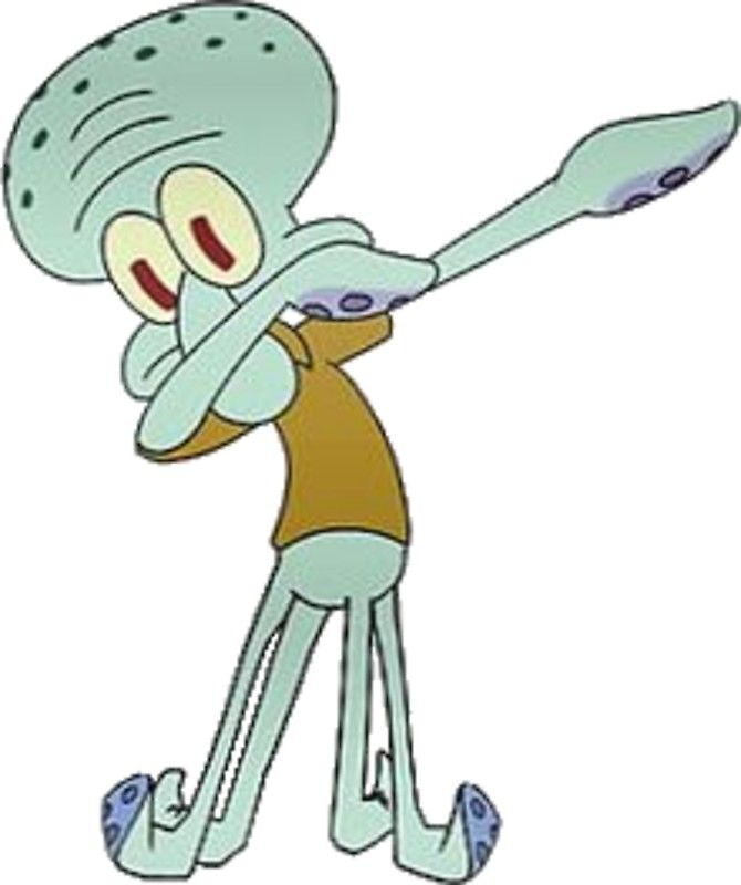 Squidward Dabbing Sticker By Ethan Williams In 2021 Spongebob Painting Squidward Art Squidward Funny Face