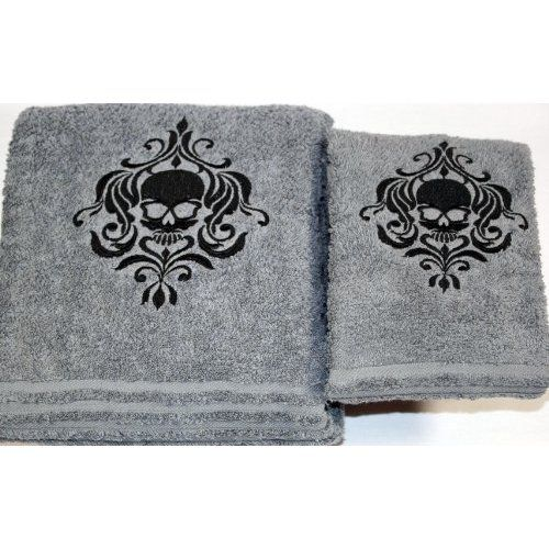 Halloween Skull Gothic Bath Towel Set Gray With Black Stitching