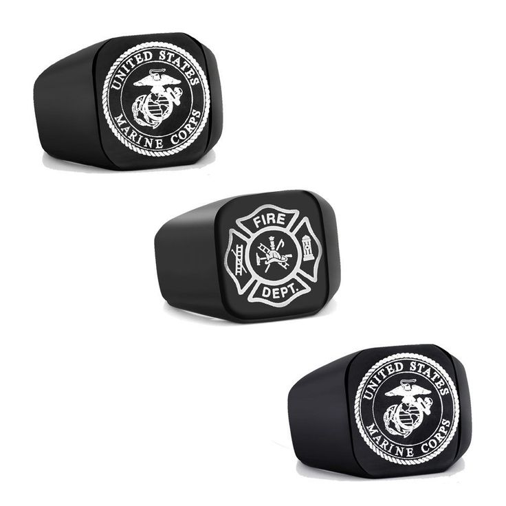 Vintage Us Marine Corps Stainless Steel Rings Jewelry Band Black Biker Punk Gift