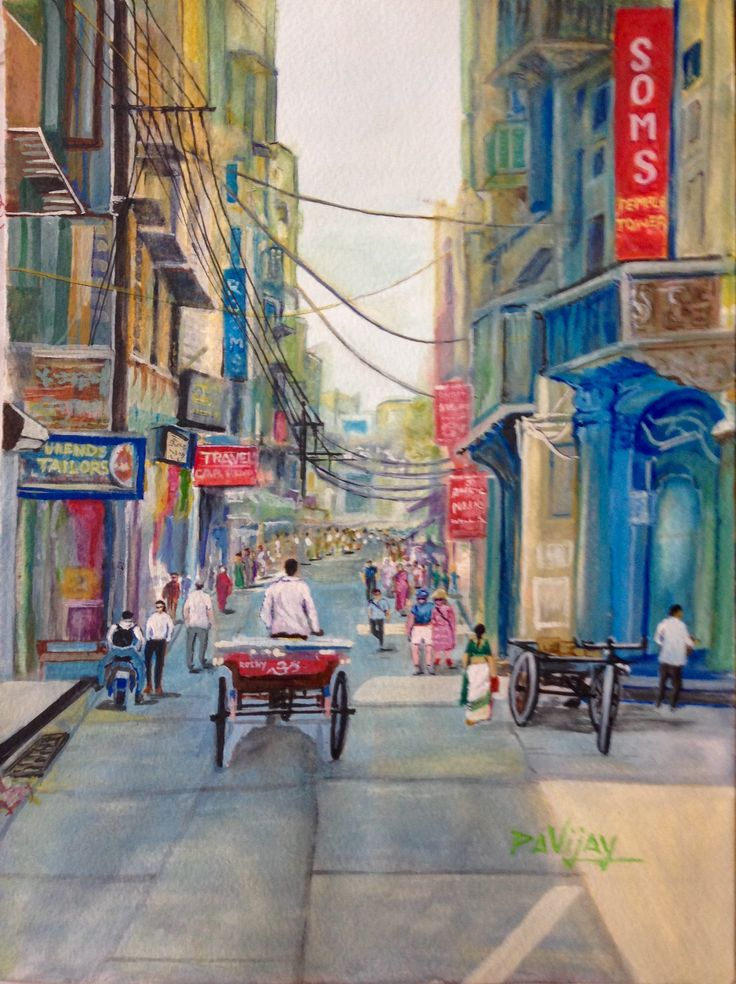 Khaugalli Street in Amritsar, Punjab Painting in watercolor.