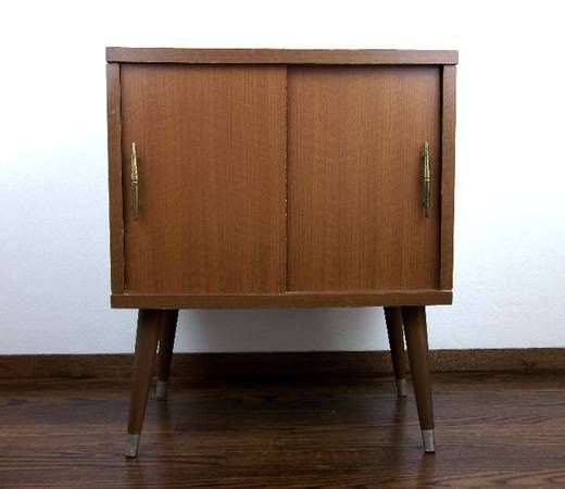 Mid Century Modern Vintage Record Player Stand Storage