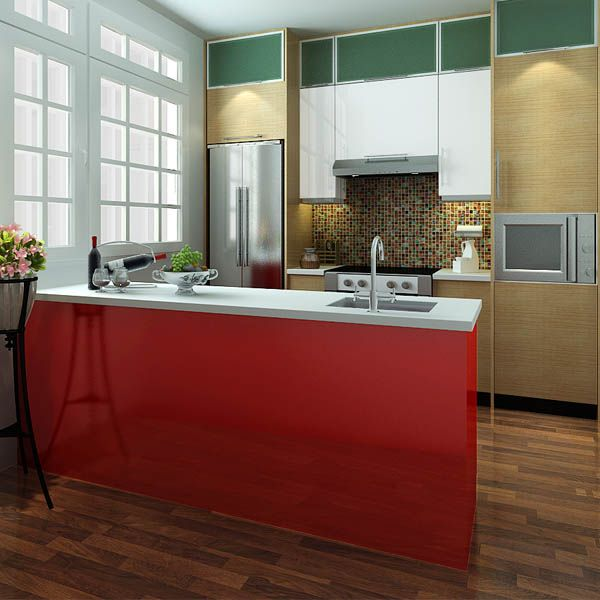 kitchen cabinets, PVC, red, OP14-PVC07