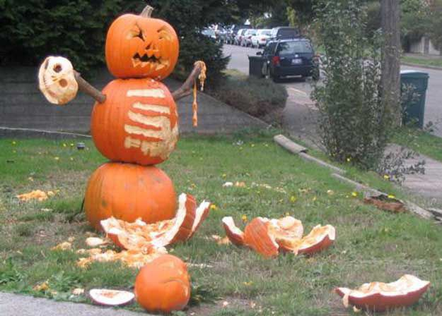 Pumpkin carving parties are actually just a bunch of drunk people holding knives hacking inexpertly at tough objects.