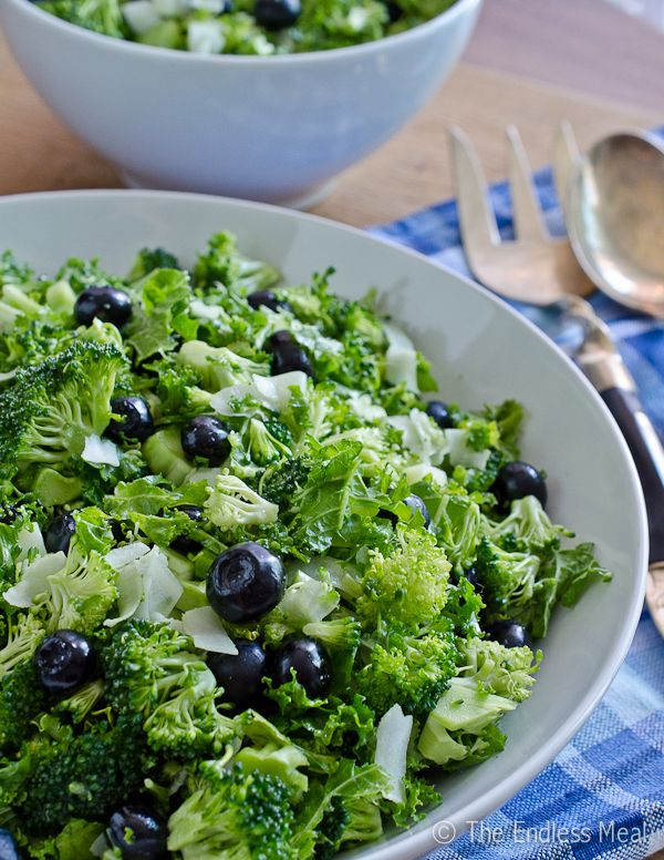 Broccoli and Kale Salad with Blueberries and Coconut