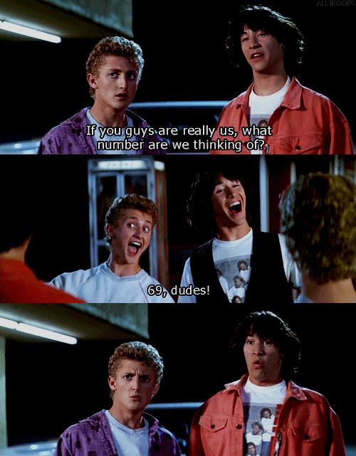 The EXCELLENT Adventures of Bill and Ted. Not hard to guess what they're thinking.