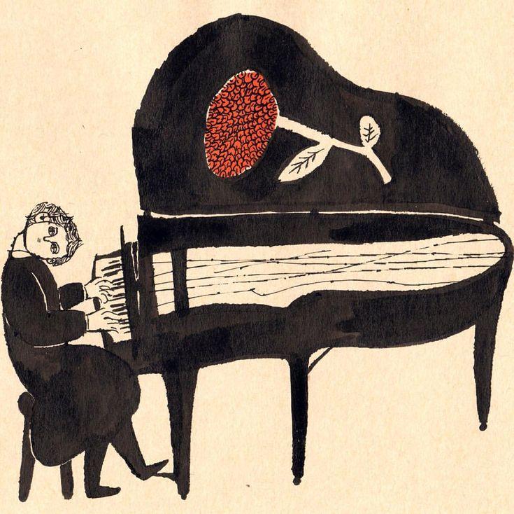no.179 「耳を澄ますII listen」 墨汁 india-ink #イラスト#絵本#ピアニスト#illustration#painting#pianist#book#artwork
