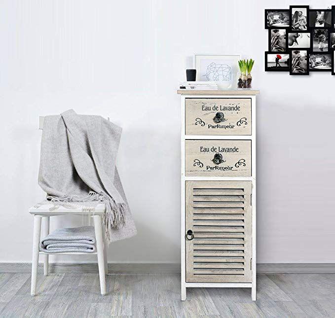 Mobili Rebecca Badezimmerschrank 2 Schubladen Holz Farbe Natur Shabby Chic Badezimmer Schlafzimmer Wohnzimmer  – Wohnzimmer Ideen Landhaus Wandgestalt…