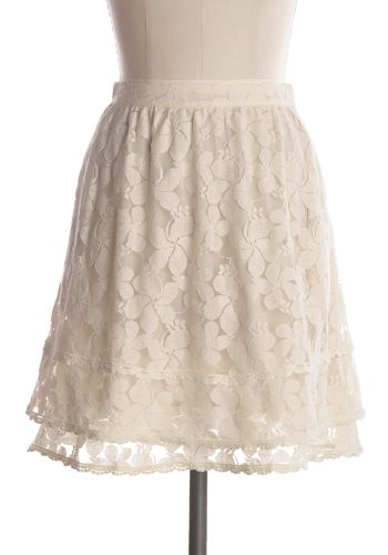 Lovely cream lace skirt with pockets. Side zipper. 65% cotton, 35% nylon Lining 100% polyester Not stretchy Lined Dry clean or hand wash cold. Lay flat dry. Indie, Retro, Party, Vintage, Plus Size, Convertible, Cocktail Dresses in Canada Happily Ever After Skirt -