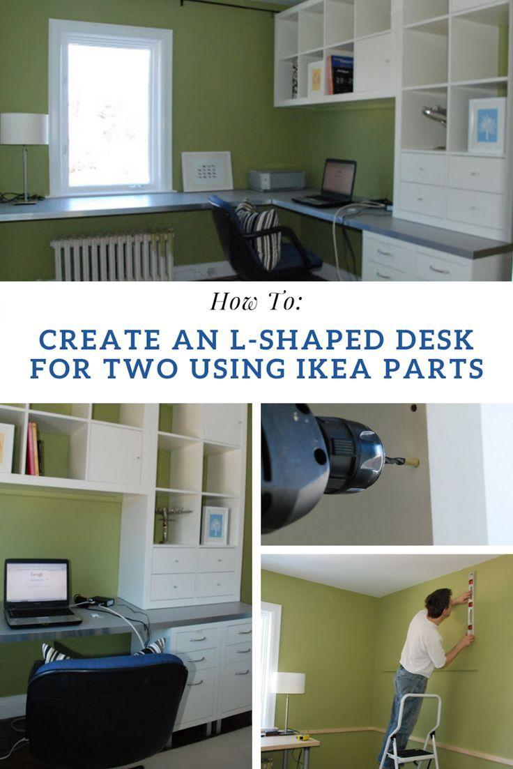 Ikea Home Office With L Shaped Desk In 2020 Ikea L Shaped Desk