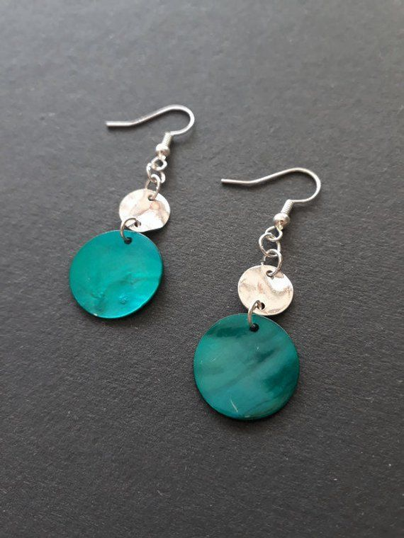 Turquoise S And Silver Disc Earrings In 2018 Handmadebyhollyuk Pinterest Etsy Handmade Jewelry