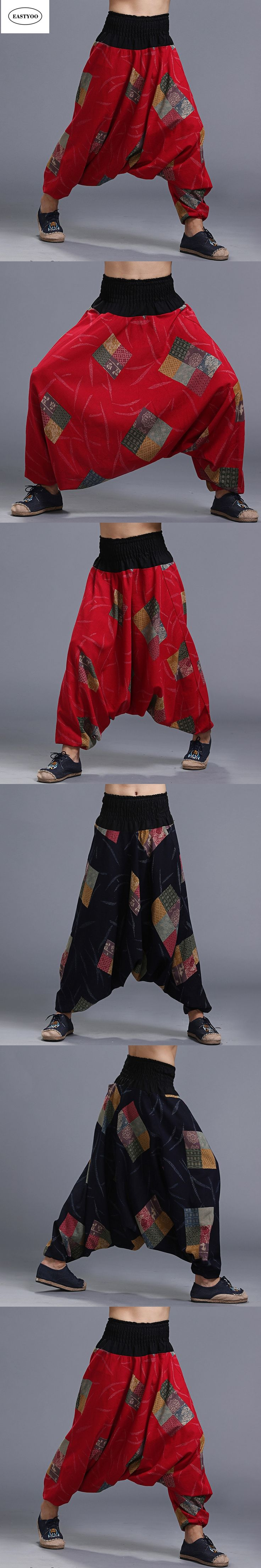 Print Cotton Pants Men Summer Loose Casual Cross-Pants Elastic Waist Long Trousers Ethnic Harem Pants Wide Leg Trousers