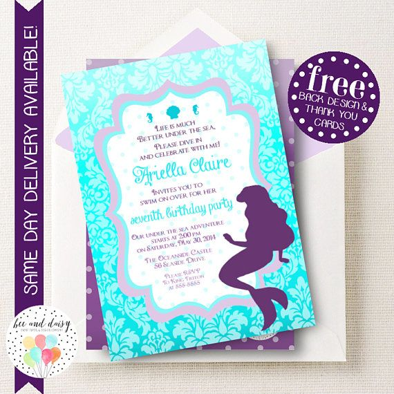 little mermaid invitation little mermaid birthday invitation little mermaid birthday party mermaid party - Little Mermaid Party Invitations